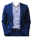 John Carmen Royal Blue Cotton Mens Designer Blazer - Slim Fit