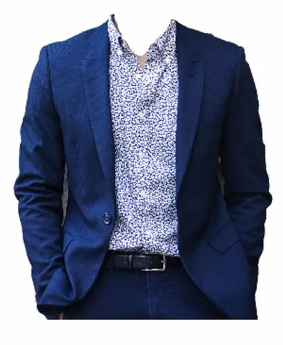 John Carmen Royal Blue Cotton Mens Designer Blazer - Slim Fit