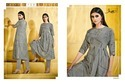 Pure Linen 3/4th Sleeve Grey Straight Classic Kurti