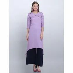 Casual Wear Purple Rayon Kurti