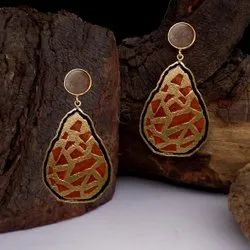 Gold plated multi color Enamel Earring
