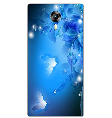 low priced 1a1f9 1a121 Shengshou Butterfly Design Mobile Back Cover For Micromax Canvas Xpress 2  E313 Blue White