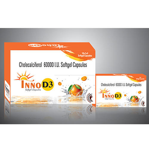Inno D3 Chlolecalciferol 60000 Iu Cholecalciferol 60000 IU Softgel Capsules, Packaging Type: Blister, for Commerical