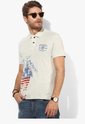 US Polo Assn Beige Printed Regular Fit Polo T Shirt
