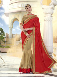 Designer Saree With Zari Work