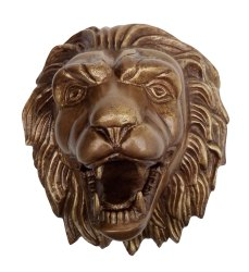Metal Wall Mount Lion Head Shiny Polished Sculptures