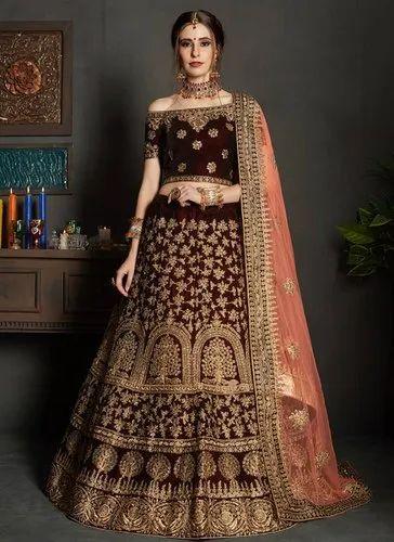 7279ebc151 Maroon Semi-Stitched Exclusive Bridal Wear Lehenga Choli, Rs 6425 ...