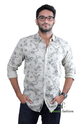 Cream And Grey Filo Jeans Casual Shirt