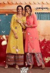 Kessi Rangoon First Look Pure Muslin Long Kurti With Silk Print Plazzo Catalog