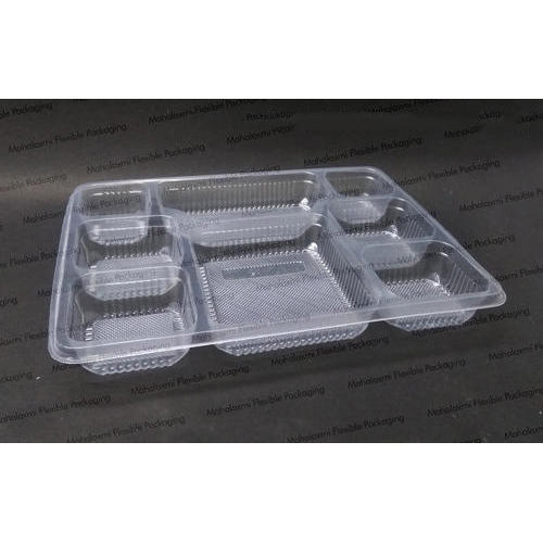 Plastic Disposable Packaging Tray - 8 Compartment 28 gm Black Food