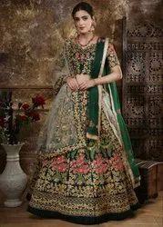Taffeta Satin Green Designer Lehenga Choli For Wedding, Dupatta Fabric: Bridal Net
