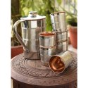 Polished Finish Copper Jug With Six Glass
