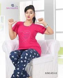 Pink Sleepwear Cotton Sinker Night Suit