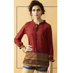 Digital Printed Maroon Top