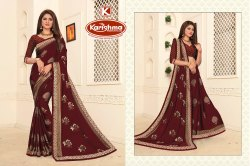 Printed Embroidered Georgette Crepe Saree - Make Up