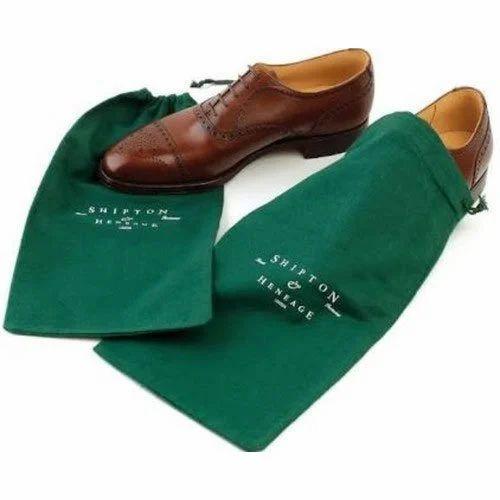 Green Cotton Shoe Bags