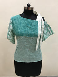Lavanya Stripes and solid design- aqua colour off shoulder top