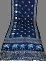 Designer Printed Indigo Silk Saree