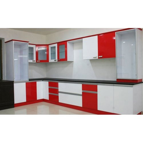 Particle Board or MDF L Shape Wooden Modular Kitchen