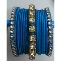 Turquoise Silk Thread Bangles with Stone