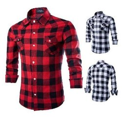 Casual Wear Checks Men Check Cotton Shirt, Handwash