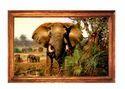 Brown Elephant Print Wedding Card