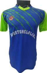 MICROPP V-neck Blue T Shirt With Fluorescent Green, Age Group: 5 To 50