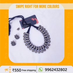 Black Oxidized Silver Tone Metal Charm Threaded Short Necklace with Pair of Earring for Women