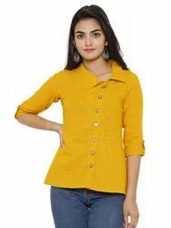 Yash Gallery Women's Cotton Slub Solid Shirt