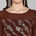 Brown Poly Crepe Kurta With Pant(SET036)