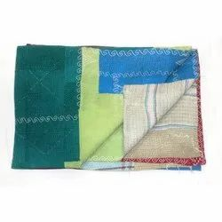 Handmade Indian Vintage Super Fine Cotton Kantha Quilt Blanket