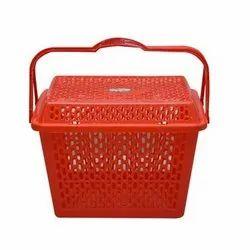 Red Rajini Plastic Basket