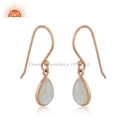 Rainbow Moonstone Earrings Rose Gold Plated Silver Gemstone Jewelry