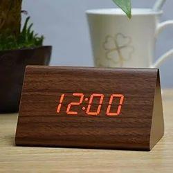 Premium Wooden Style Alarm,Date,Temperature Led Table Clock