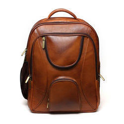 Unisex Tan Leather Laptop Backpack