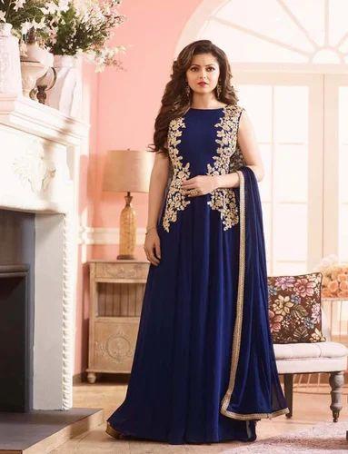3fe3f6d8e0 Georgette Blue Latest Indian Designer Anarkali Salwar Kameez, Rs ...
