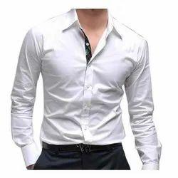 Full Sleeves Mens White Fashionable Plain Shirt