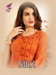 Silk Vol -1 Rayon Silk with Embroidery and Hand Work Designer Kurtis