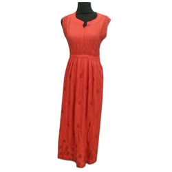 Lucknowi Chikan Hand Embroidery Rayon Gown, Size: XL
