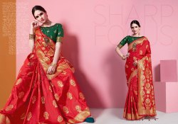 Plain Kanjivaram Silk Saree With Blouse