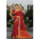 Red Plain Saree