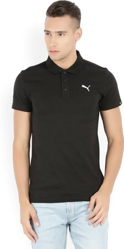 c04aeb5516 Puma Solid Mens Polo Neck Black T Shirt