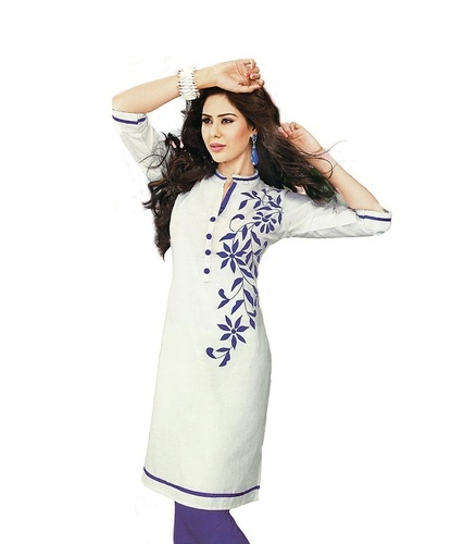 White Cotton Embroidery Kurtis Rs 250 Piece Hiral Corporation