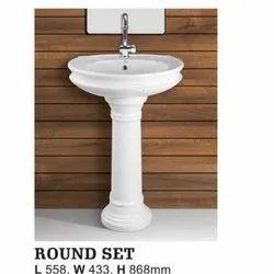 Round Set Pedestal Wash Basin