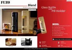 Screw Transparent FUZO Blend Glass Bottle with Pill Holder - TGZ-801