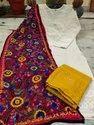 Pure Cotton Chiken Kurti With Palazzo N Kantha Work Stole