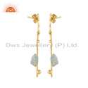 Aquamarine Gemstone Gold Plated Silver Stick Earrings