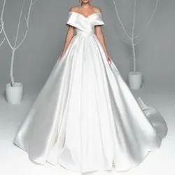 Semi-Stitched Plain Ladies Wedding Gown