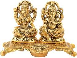 Diwali Gift Bharat Handicrafts Gold Plated Laxmi Ganesha Deepam