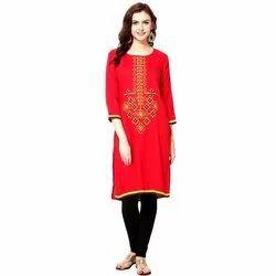 Red Cotton Printed Ladies Kurti